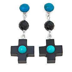 Jay King Black Agate and Turquoise Cross Drop Earrings