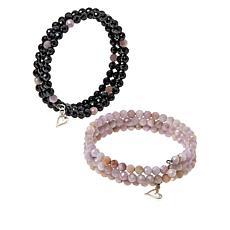Jay King Black Spinel & Colored Gemstone Set of 2 Bead Coil Bracelets