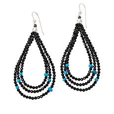 Jay King Black Spinel and Turquoise Bead 3-Loop Earrings