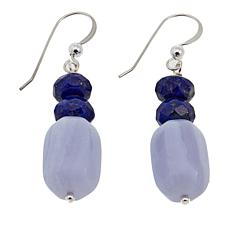 Jay King Blue Lace Agate and Lapis Bead Sterling Silver Drop Earrings