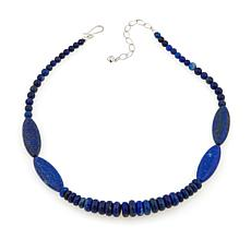 "Jay King Blue Lapis Bead 18"" Sterling Silver Necklace"