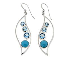 Jay King Blue Topaz and Turquoise Sterling Silver Drop Earrings