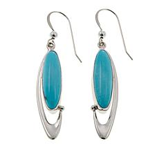 Jay King Campitos Turquoise Marquise Drop Sterling Silver Earrings
