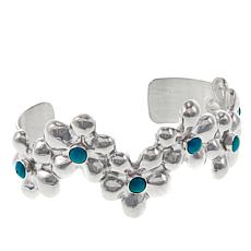 Jay King Campitos Turquoise Sterling Silver Floral Cuff Bracelet