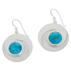 Jay King Compressed Kingman Turquoise Disc Drop Earrings