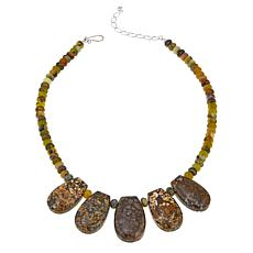 "Jay King Confetti Opal and Green Reef Opal Bead 18"" Necklace"