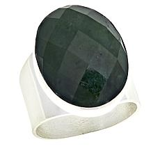 Jay King Dark Green Nephrite Jade Sterling Silver Ring