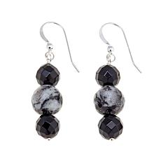 Jay King Feather Stone and Black Agate Bead Earrings