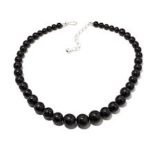Jay King Frosted Black Agate Bead  Necklace