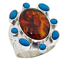 Jay King Gallery Collection Sterling Silver Amber and Turquoise Ring