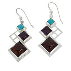 Jay King Gallery Collection Turquoise, Amber and Amethyst Earrings