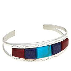 Jay King Gallery Collection Turquoise, Lapis & Red Coral Cuff Bracelet