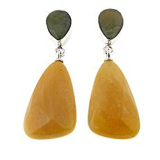 Jay King Green and Honey Gobi Opal Drop Sterling Silver Earrings