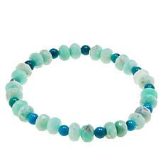 Jay King Green Opal and Turquoise Bead Stretch Bracelet