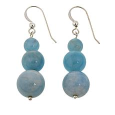 Jay King Handcarved Blue Aquamarine 3-Bead Drop Earrings