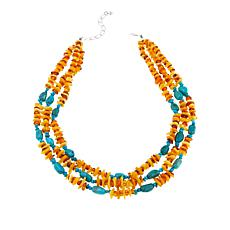 "Jay King Hubei Turquoise and Amber 3-Strand 18"" Necklace"