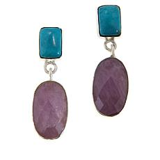 Jay King Kunzite and Cloudy Mountain Turquoise Drop Earrings