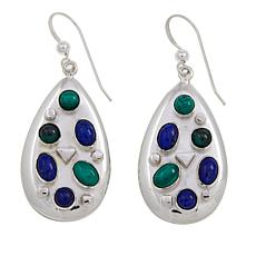 Jay King Lapis and Malachite Sterling Silver Drop Earrings