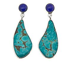 Jay King Lapis and Tyrone Turquoise Drop Sterling Silver Earrings