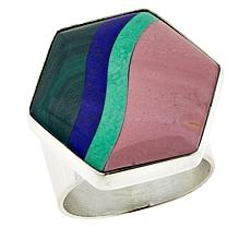 Jay King Multi-Gemstone Inlay Hexagon Sterling Silver Ring