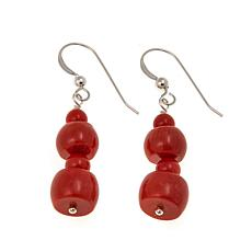 Jay King Orange Coral Bead Drop Earrings