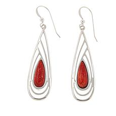 Jay King Orange Coral Teardrop Sterling Silver Earrings