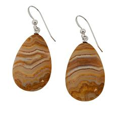 Jay King Pear-Shaped Java Lace Agate Drop Sterling Silver Earrings