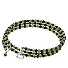 Jay King Peridot and Black Spinel Bead Coil Bracelet with Charm