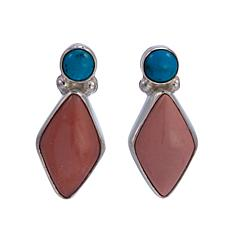 Jay King Pink Opal and Seven Peaks Turquoise Sterling Silver Earrings