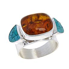 Jay King Pressed Amber and Turquoise Doublet Band Ring