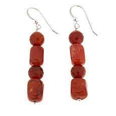 Jay King Red Picante Agate Bead Drop Sterling Silver Earrings