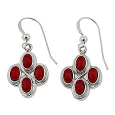 Jay King Red Sea Bamboo Coral 4-Cabochon Drop Earrings