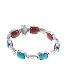 Jay King Reversible Turquoise and Pink Thulite Bracelet - M/L