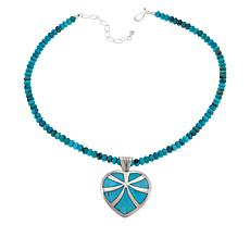 Jay King Reversible Turquoise Heart Pendant with Necklace