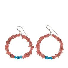 Jay King Rhodochrosite and Turquoise Hoop Drop Earrings