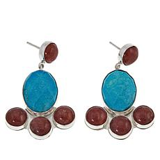 Jay King Rhodochrosite and Turquoise Sterling Silver Drop Earrings