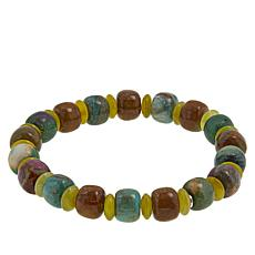 Jay King Ruby in Fuchsite and Korean Serpentine Stretch Bracelet