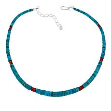 "Jay King Seven Peaks Turquoise and Red Coral Heishi Bead 18"" Necklace"