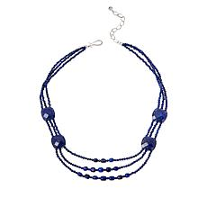 Jay King Sterling Silver 3-Strand Lapis Bead Necklace