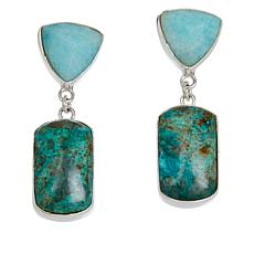 Jay King Sterling Silver Amazonite and Parrot Wing Stone Earrings