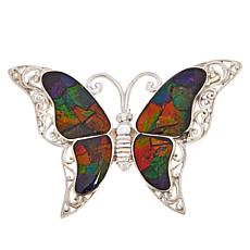 Jay King Sterling Silver Ammolite Butterfly Pin/Pendant