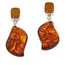 Jay King Sterling Silver Butterscotch and Brown Amber Drop Earrings