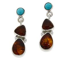 Jay King Sterling Silver Campitos Turquoise and Amber Drop Earrings