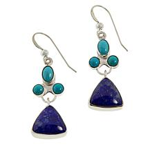 Jay King Sterling Silver Campitos Turquoise & Blue Lapis Drop Earrings