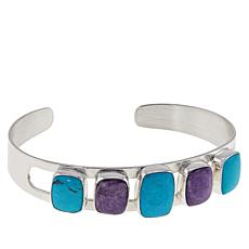 Jay King Sterling Silver Charoite and Turquoise Cuff