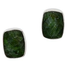 Jay King Sterling Silver Chrome Diopside Cushion-Cut Button Earrings