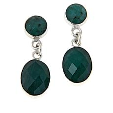 Jay King Sterling Silver Emerald Drop Earrings