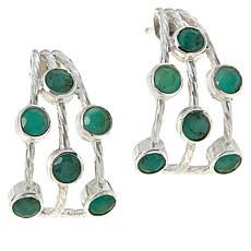 Jay King Sterling Silver Emerald Multi-Stone J-Hoop Earrings
