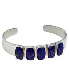 Jay King Sterling Silver Faceted Lapis 5-Stone Cuff Bracelet