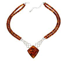 Jay King Sterling Silver Freeform Amber Double Strand Necklace